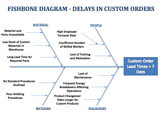 fishbone diagram example - delays in custom orders